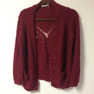 Raspberry sweater cardigan
